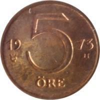 reverse of 5 Öre - Gustaf VI Adolf (1972 - 1973) coin with KM# 845 from Sweden. Inscription: 19 5 73 ØRE