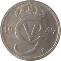 obverse of 50 Öre - Gustaf V (1920 - 1947) coin with KM# 796 from Sweden. Inscription: 19 47