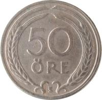 reverse of 50 Öre - Gustaf V (1920 - 1947) coin with KM# 796 from Sweden. Inscription: 50 ÖRE