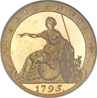reverse of 1/2 Penny - George III (1795) coin with KM# Pn63 from United Kingdom. Inscription: BRITANNIA 1795.