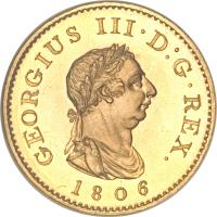 obverse of 1 Farthing - George III (1806) coin with KM# 661a from United Kingdom. Inscription: GEORGIUS III · D:G · REX. 1806