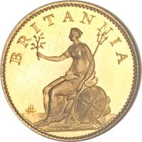 reverse of 1 Farthing - George III (1806) coin with KM# 661a from United Kingdom. Inscription: BRITANNIA SOHO K
