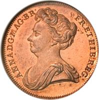 obverse of 1/2 Penny - Anne (1707) coin with KM# PnA34 from United Kingdom. Inscription: ANNA · D:G · MAG:BR: FR:ET · HIB:REG: