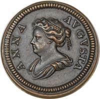 obverse of 1 Farthing - Anne (1713) coin with KM# PnB34 from United Kingdom. Inscription: ANNA AVGVSTA