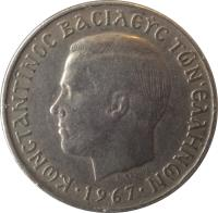 obverse of 2 Drachmai - Constantin II (1966 - 1970) coin with KM# 90 from Greece. Inscription: ΚΩΝΣΤΑΝΤΙΝΟΣ ΒΑΣΙΛΕΥΣ ΤΩΝ ΕΛΛΗΝΩΝ · 1970 ·