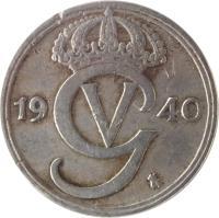 obverse of 25 Öre - Gustaf V (1921 - 1947) coin with KM# 798 from Sweden. Inscription: GV 1946