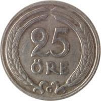 reverse of 25 Öre - Gustaf V (1921 - 1947) coin with KM# 798 from Sweden. Inscription: 25 ØRE TS