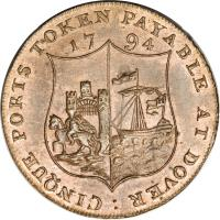 reverse of 1/2 Penny - Dover / Kent (1794) coin with DH# 16 from United Kingdom.