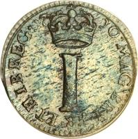 reverse of 1 Penny - Anne - Maundy Coinage (1703 - 1713) coin with KM# 512 from United Kingdom. Inscription: MAG BRI · FR · ET · HIB · REG · 17 10 · I