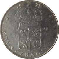 reverse of 1 Krona - Gustaf VI Adolf (1968 - 1973) coin with KM# 826a from Sweden. Inscription: 1 KR 1973 PLIKTEN · FRAMFÖR · ALLT