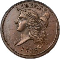 obverse of 1/2 Cent (1793) coin with KM# 10 from United States. Inscription: LIBERTY 1793