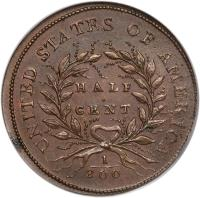 reverse of 1/2 Cent (1793) coin with KM# 10 from United States. Inscription: UNITED STATES OF AMERICA HALF CENT 1/200
