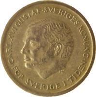 obverse of 10 Kronor - Carl XVI Gustaf (1991 - 2000) coin with KM# 877 from Sweden. Inscription: CARL XVI GUSTAF.SVERIGES KONUNG. FÖR SVERIGE I TIDEN