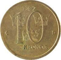 reverse of 10 Kronor - Carl XVI Gustaf (1991 - 2000) coin with KM# 877 from Sweden. Inscription: 1992 10 KRONOR