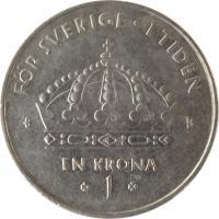 reverse of 1 Krona - Carl XVI Gustaf (2001 - 2012) coin with KM# 894 from Sweden. Inscription: FÖR SVERIGE · I TIDEN EN KRONA 1 H