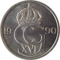 obverse of 50 Öre - Carl XVI Gustaf (1976 - 1991) coin with KM# 855 from Sweden. Inscription: CG XVI 1984