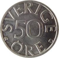 reverse of 50 Öre - Carl XVI Gustaf (1976 - 1991) coin with KM# 855 from Sweden. Inscription: SVERIGE 50 ØRE U