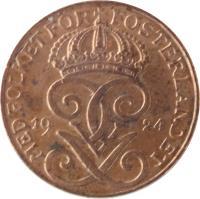 obverse of 1 Öre - Gustaf V (1909 - 1950) coin with KM# 777 from Sweden. Inscription: MET FOLKET FÖR FOSTERLANDET GGV 1938