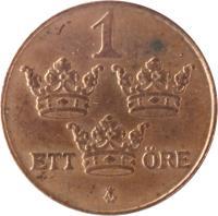 reverse of 1 Öre - Gustaf V (1909 - 1950) coin with KM# 777 from Sweden. Inscription: 1 ETT ØRE