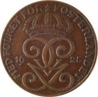 obverse of 2 Öre - Gustaf V (1909 - 1950) coin with KM# 778 from Sweden. Inscription: MED FOLKET FÖR FOSTERLANDET GGV 1929