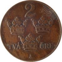 reverse of 2 Öre - Gustaf V (1909 - 1950) coin with KM# 778 from Sweden. Inscription: 2 TVÅ ØRE