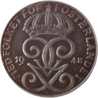 obverse of 2 Öre - Gustaf V (1942 - 1950) coin with KM# 811 from Sweden. Inscription: MET FOLKET FÖR FOSTERLANDET GGV 1947