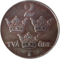 reverse of 2 Öre - Gustaf V (1942 - 1950) coin with KM# 811 from Sweden. Inscription: 2 TVÅ ØRE