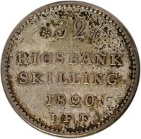 reverse of 32 Rigsbankskilling - Frederik VI (1818 - 1820) coin with KM# 690 from Denmark. Inscription: *32* RIGSBANK SKILLING. 1820. I.F.F
