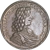 obverse of 1 Speciedaler - Christian V (1671) coin with KM# 318 from Denmark. Inscription: CHRISTIAN:V.D.G.REX.DAN:NOR:VAN:GOT: