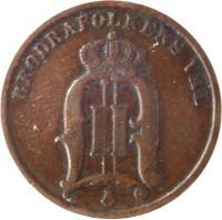 obverse of 2 Öre - Oscar II - Large letters (1877 - 1905) coin with KM# 746 from Sweden. Inscription: BRÖDRAFOLKENS VÄL