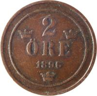 reverse of 2 Öre - Oscar II - Large letters (1877 - 1905) coin with KM# 746 from Sweden. Inscription: 2 ØRE 1905