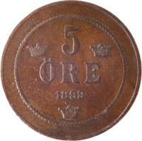 reverse of 5 Öre - Oscar II - Large letters (1888 - 1905) coin with KM# 757 from Sweden. Inscription: 5 ORE 1899