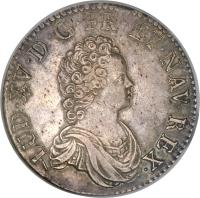 obverse of 1 Ecu - Louis XV (1715) coin with KM# 412 from France. Inscription: LUD.XV.D.G.FR.ET NAV.REX