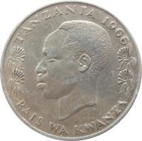 obverse of 1 Shilingi (1966 - 1984) coin with KM# 4 from Tanzania. Inscription: TANZANIA 1975 RAIS WA KWANZA