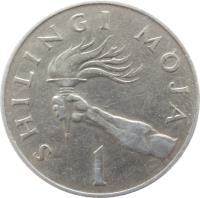 reverse of 1 Shilingi (1966 - 1984) coin with KM# 4 from Tanzania. Inscription: SHILINGI MOJA 1