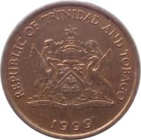 obverse of 1 Cent (1976 - 2014) coin with KM# 29 from Trinidad and Tobago. Inscription: REPUBLIC OF TRINIDAD AND TOBAGO TOGETHER WE ASPIRE TOGETHER WE ACHIEVE 2006