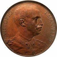 obverse of 10 Centesimi - Vittorio Emanuele III (1903) coin with KM# Pn2 from Italy. Inscription: VITTORIO EMANUELE III EB
