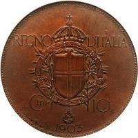 reverse of 10 Centesimi - Vittorio Emanuele III (1903) coin with KM# Pn2 from Italy. Inscription: REGNO D'ITALIA C.MI 10 JOHNSON & INC. 1903
