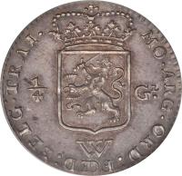 obverse of 1/4 Gulden (1794) coin with KM# 2 from Netherlands Antilles. Inscription: MO:ARG:ORD:FŒD:BELG:TRAI. 1/4 GL. W