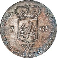 obverse of 3 Gulden (1794) coin with KM# 4 from Netherlands Antilles. Inscription: MO:ARG:ORD:FŒD:BELG:TRAI. 3 GL. W