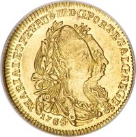 obverse of 1/2 Escudo - Maria I & Pedro III (1777 - 1784) coin with KM# 269 from Portugal. Inscription: MARIA.I.ET.PETRUS.III.D.G.PORT.ET.ALG.REGES 1784