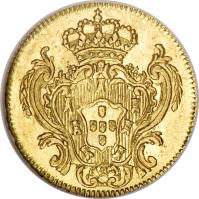 reverse of 1/2 Escudo - Maria I & Pedro III (1777 - 1784) coin with KM# 269 from Portugal.