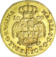 obverse of 1000 Réis - Maria I (1787 - 1800) coin with KM# 292 from Portugal. Inscription: MARIA.I.D.G.PORT.ET.ALG.REGINA 10 00