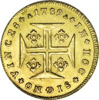 reverse of 1000 Réis - Maria I (1787 - 1800) coin with KM# 292 from Portugal. Inscription: *1789* * IN*HOC*SIGNO*VINCES*