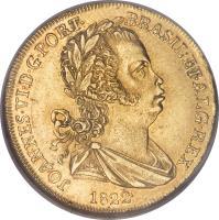 obverse of 1/2 Peça - João VI (1818 - 1823) coin with KM# 363 from Portugal. Inscription: JOANNES · VI · D · G · PORT · BRASIL · ET · ALG · REX 1822