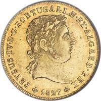 obverse of 1/2 Peça - Pedro IV (1827) coin with KM# 379 from Portugal. Inscription: PETRUS · IV · D · G · PORTUGALIƷET · ALGARB · REX 1827