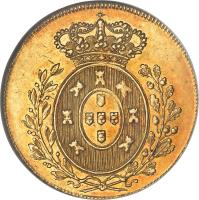 reverse of 1/2 Peça - Pedro IV (1827) coin with KM# 379 from Portugal.