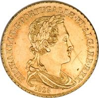obverse of 1/2 Peça - Miguel (1828) coin with KM# 387 from Portugal. Inscription: MICHAEL · I · D · G · PORTUGALIƷET · ALGARB · REX 1828