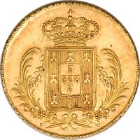 reverse of 1/2 Peça - Miguel (1828) coin with KM# 387 from Portugal.
