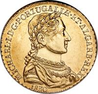 obverse of 1/2 Peça - Miguel (1830 - 1831) coin with KM# 396 from Portugal. Inscription: MICHAEL · I · D · G · PORTUGALIƷET · ALGARB · REX 1830
